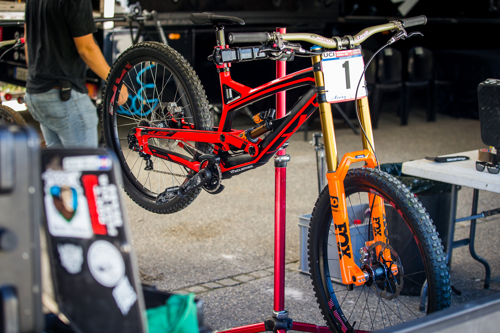Aaron Gwin's YT Tues with New Orange FOX 40 - PIT BITS - Lenzerheide World Cup - Mountain Biking Pictures - Vital MTB