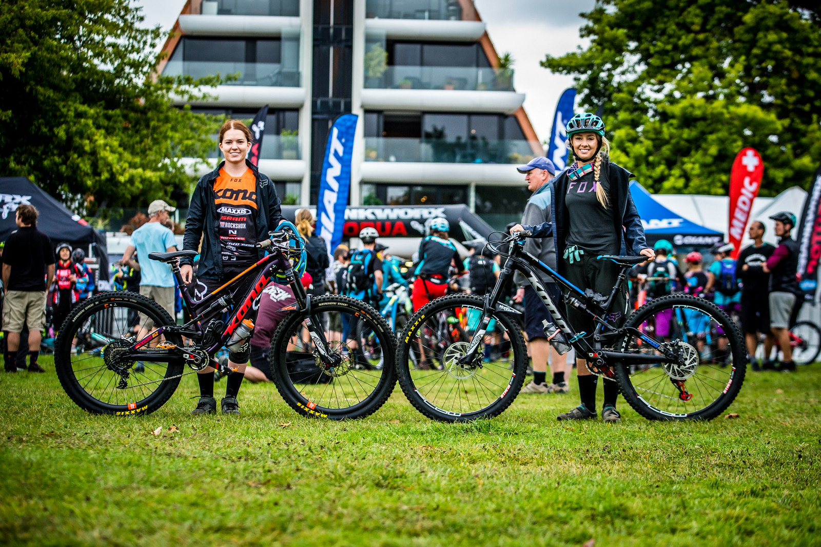 Tegan Molloy and Shelly Flood with their Konas - PIT BITS - Enduro World Series, Rotorua, New Zealand - Mountain Biking Pictures - Vital MTB