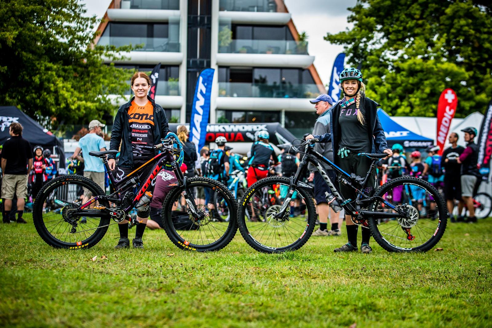 Tegan Molloy and Shelly Flood with their Konas - PIT BITS - Enduro World Series, Rotorua, New Zealand - Mountain Biking Pictures - Vital MTB