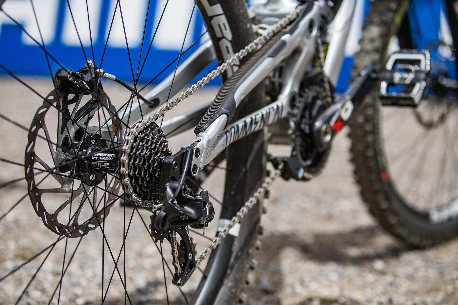 SRAM X0 DH 7-speed Drivetrain with Spank Spike DH Wheelset - WINNING BIKE: Myriam Nicole's Commencal Supreme DH V4 - Mountain Biking Pictures - Vital MTB