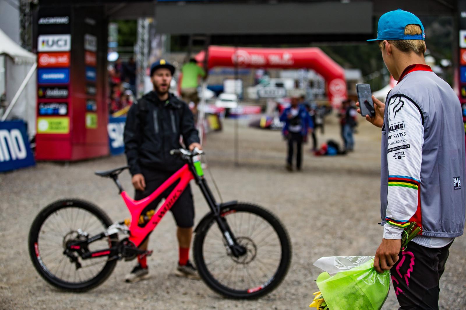 Finn Working after Winning - WINNING BIKE: Finn Iles' Specialized S-Works Demo - Mountain Biking Pictures - Vital MTB