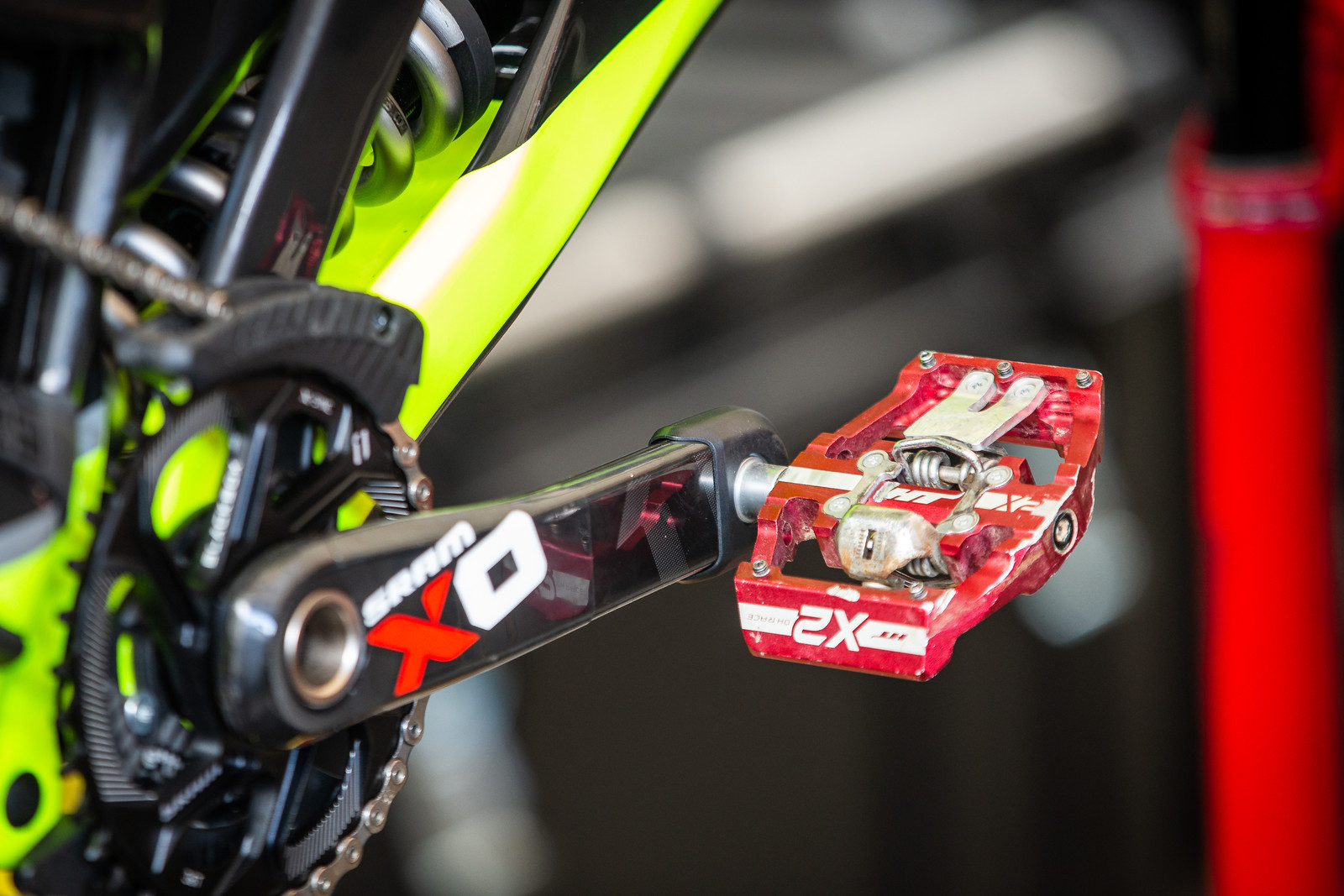 Modified HT X2 DH Pedals for Intense - PIT BITS - Val di Sole World Cup Downhill - Mountain Biking Pictures - Vital MTB
