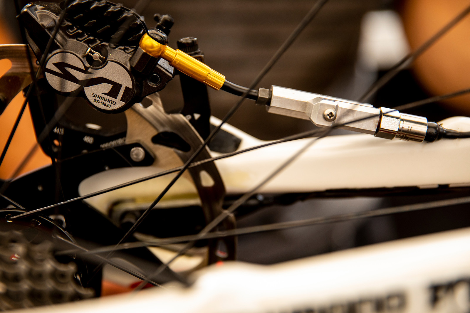 Danny Hart's Brake Force Sensor - PIT BITS - La Bresse World Cup Downhill - Mountain Biking Pictures - Vital MTB