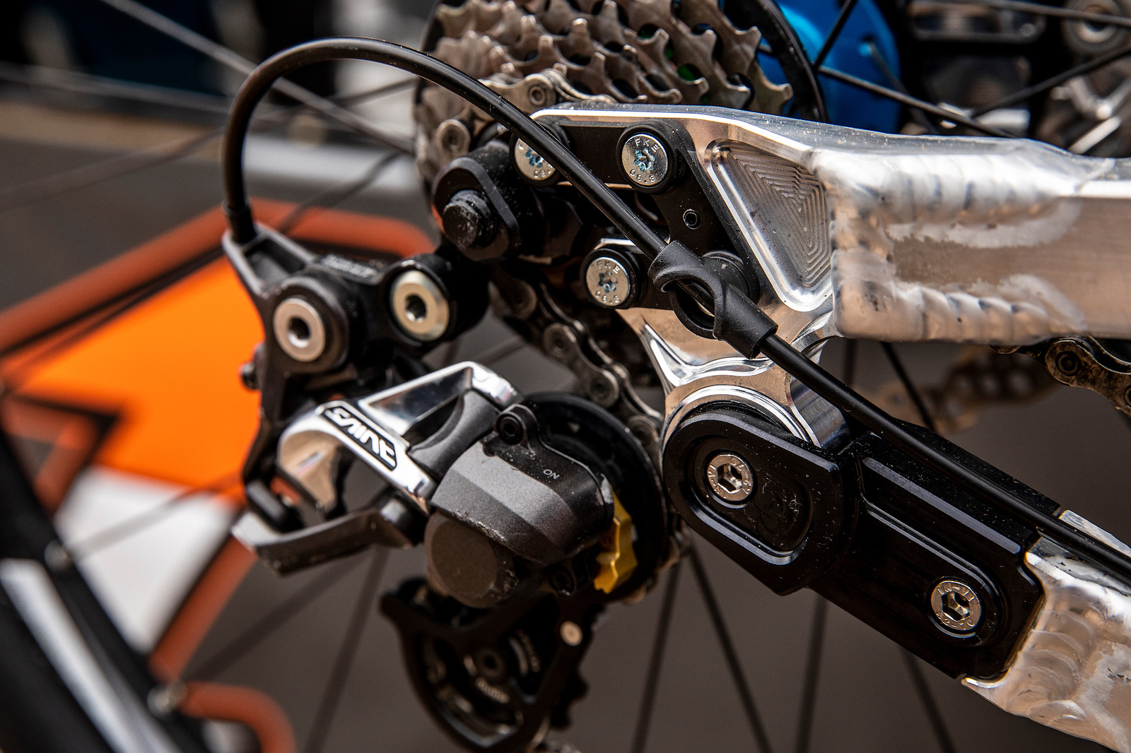 Cable Guides on Jack Reading's Prototype Nicolai 29er - PIT BITS - La Bresse World Cup Downhill - Mountain Biking Pictures - Vital MTB