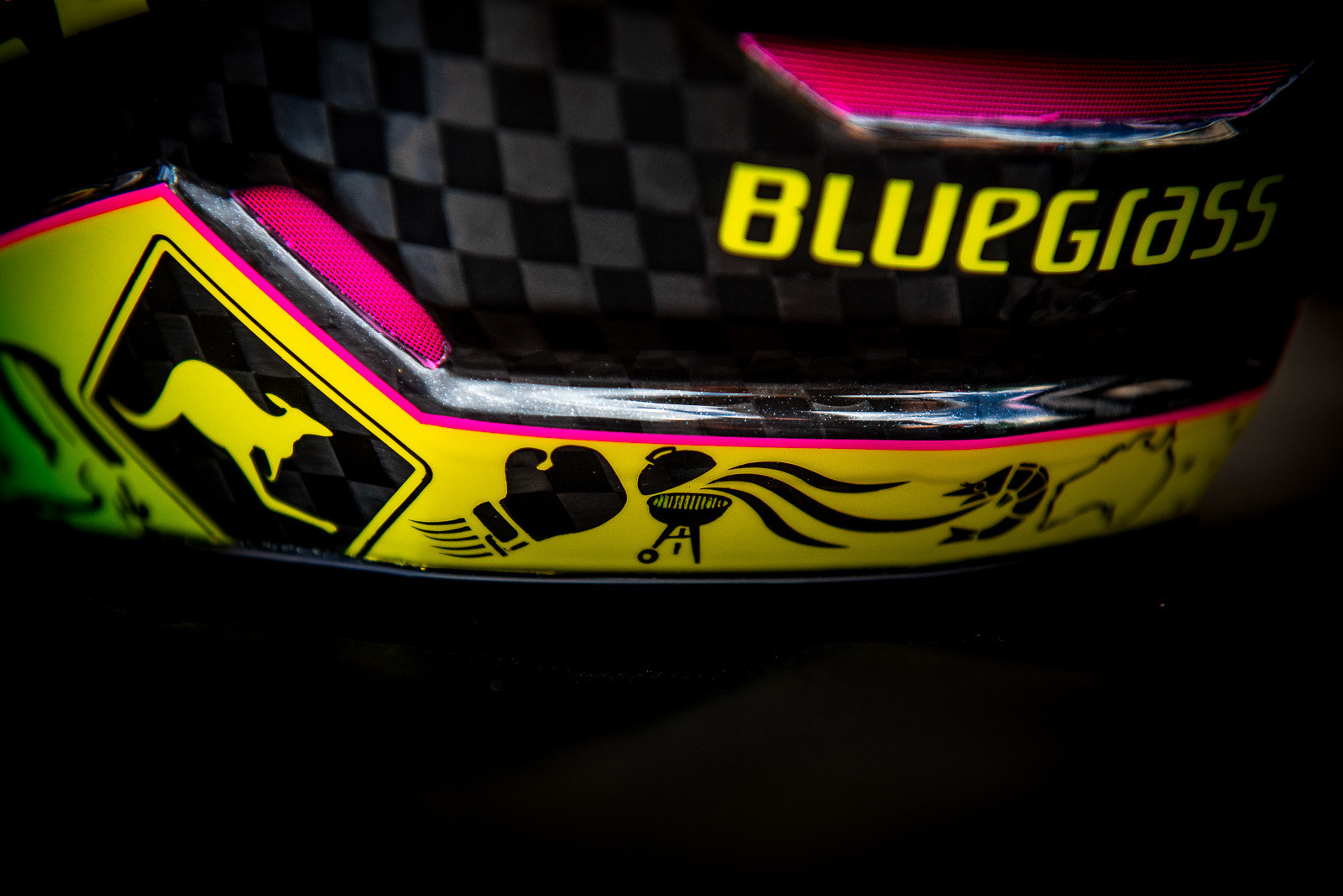 Tracey's Bluegrass Helmet - WORLD CHAMPS BIKES - Mick & Tracey Hannah's Polygons - Mountain Biking Pictures - Vital MTB