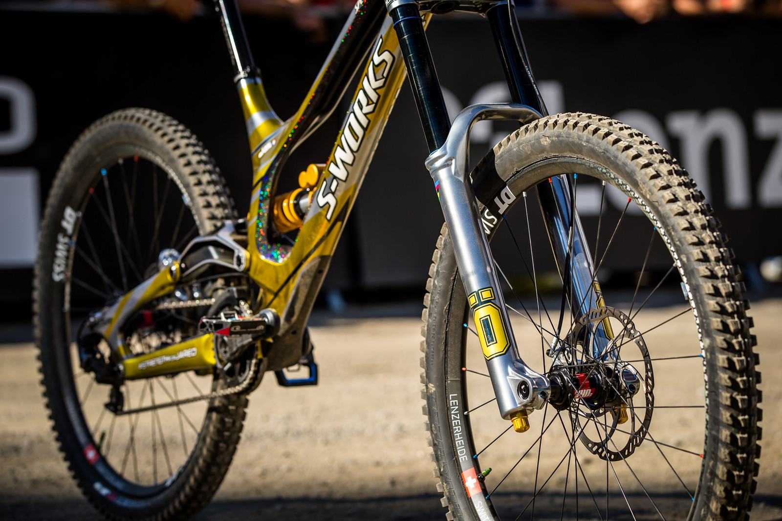 Silver Polished Ohlins DH Race Fork - WINNING BIKE - Loic Bruni's Specialized Demo - Mountain Biking Pictures - Vital MTB