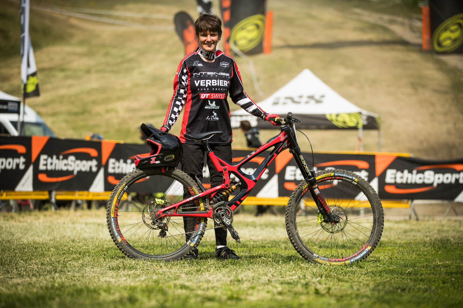Janine Hübscher from JC Racing with her Intense M16 - 25 Downhill Bikes - iXS DH Cup #3 - Abetone - Mountain Biking Pictures - Vital MTB