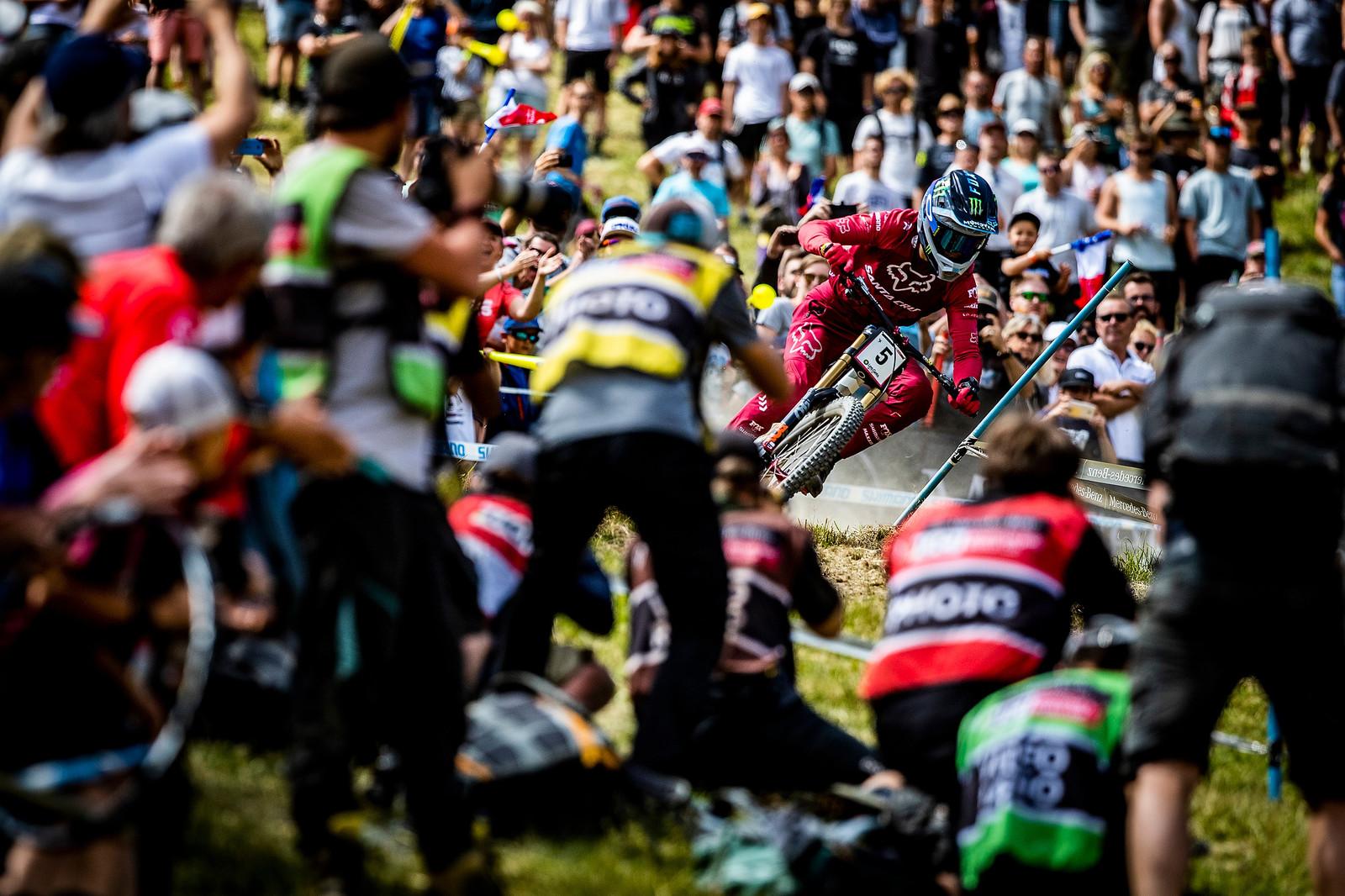 Loris Threading Needles in Les Gets - Loris Vergier 2019 World Cup Downhill Photos - Mountain Biking Pictures - Vital MTB