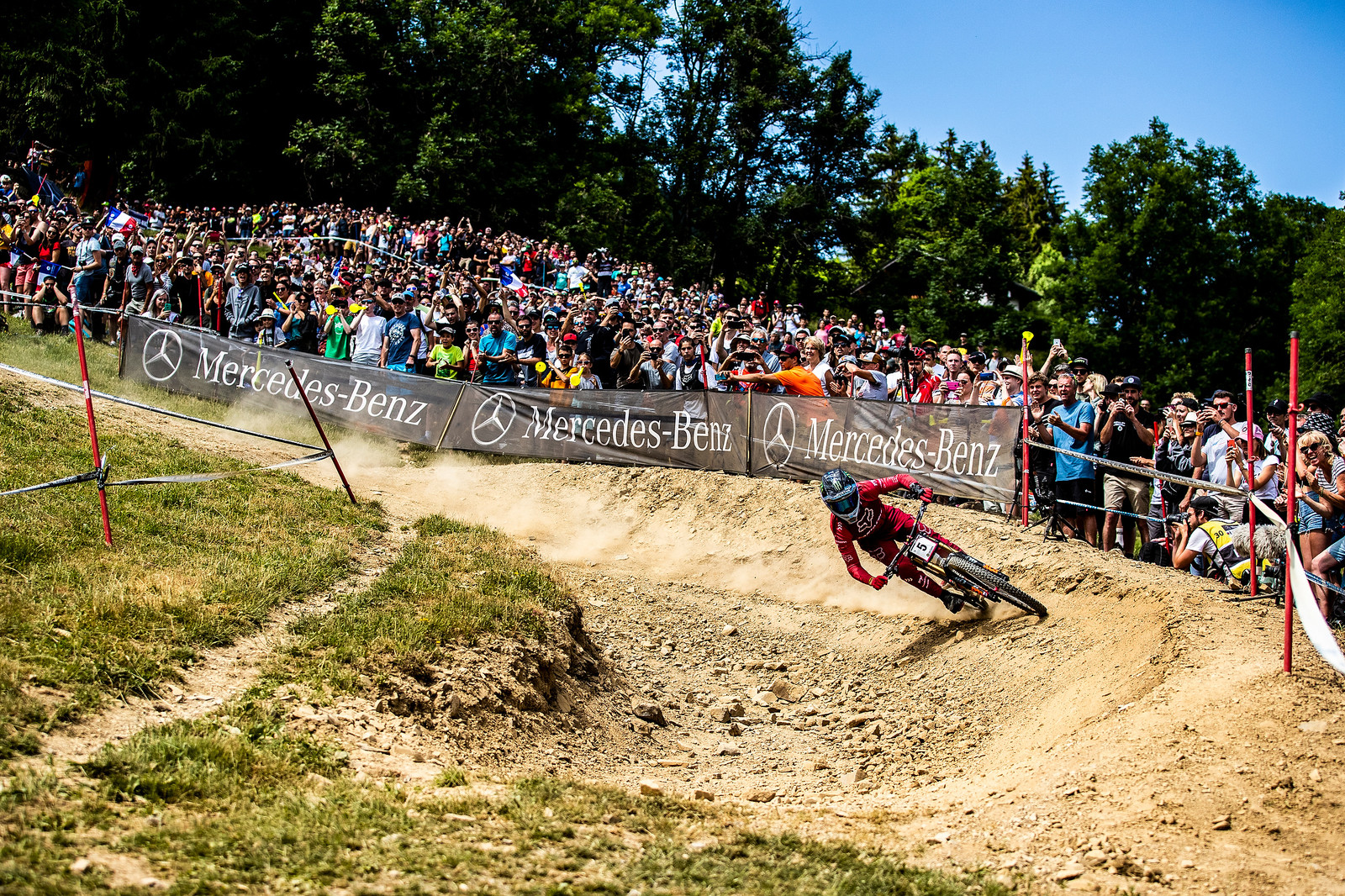 A few turns later in Les Gets - Loris Vergier 2019 World Cup Downhill Photos - Mountain Biking Pictures - Vital MTB