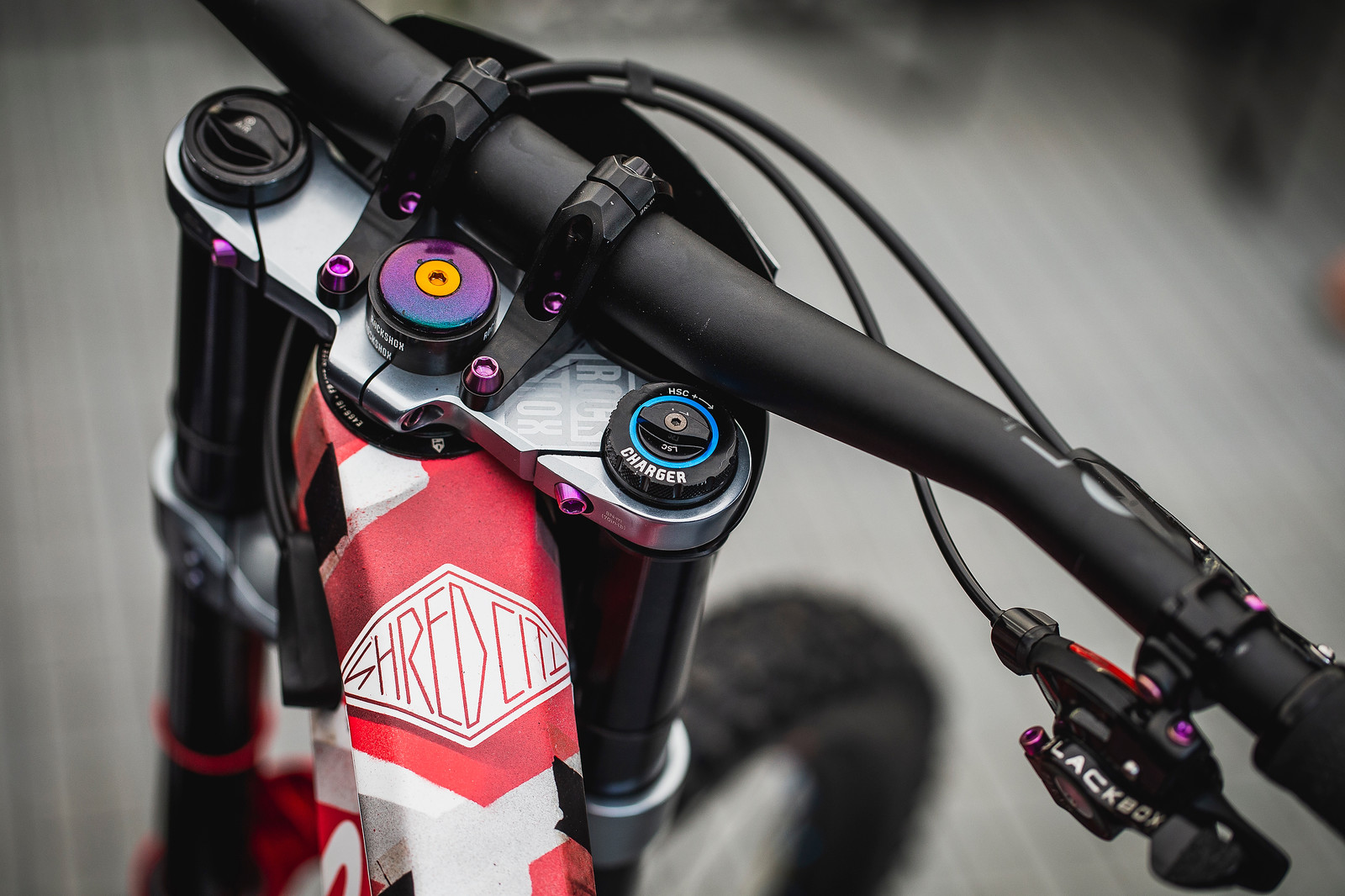Ti Bolt Oil-Slick Goodness everywhere - PIT BITS - 2019 Val di Sole World Cup Downhill Bike Tech - Mountain Biking Pictures - Vital MTB