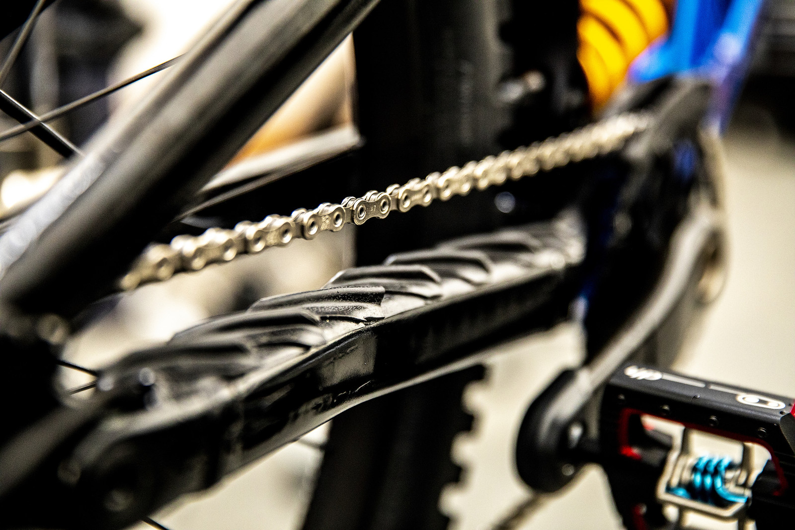 Bruni's chainstay protector.  - PIT BITS - 2019 Lenzerheide World Cup Downhill - Mountain Biking Pictures - Vital MTB