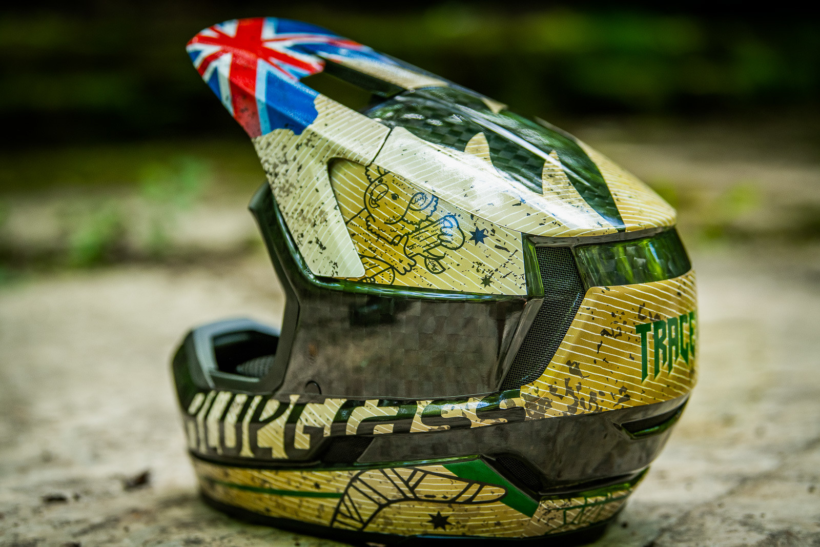 Tracey Hannah's Bluegrass World Champs Helmet - Tracey and Mick Hannah's World Champs Polygon DH Race Bikes - Mountain Biking Pictures - Vital MTB