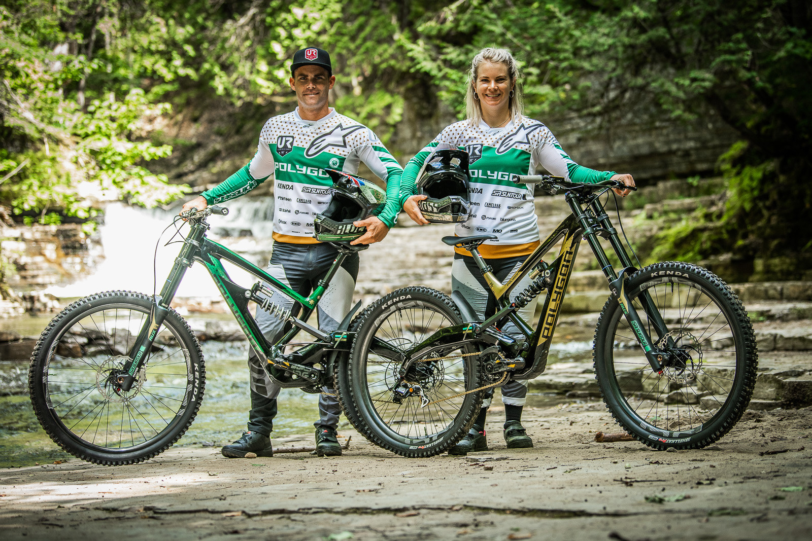 Tracey and Mick Hannah with their World Champs Polygon Race Bikes - Tracey and Mick Hannah's World Champs Polygon DH Race Bikes - Mountain Biking Pictures - Vital MTB