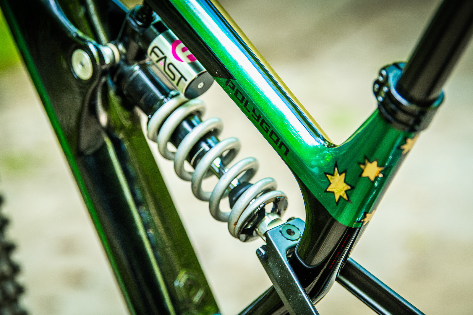 Green and Gold - Tracey and Mick Hannah's World Champs Polygon DH Race Bikes - Mountain Biking Pictures - Vital MTB