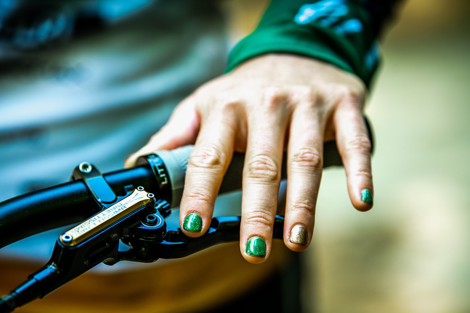Matching Fingernail Polish - Tracey and Mick Hannah's World Champs Polygon DH Race Bikes - Mountain Biking Pictures - Vital MTB