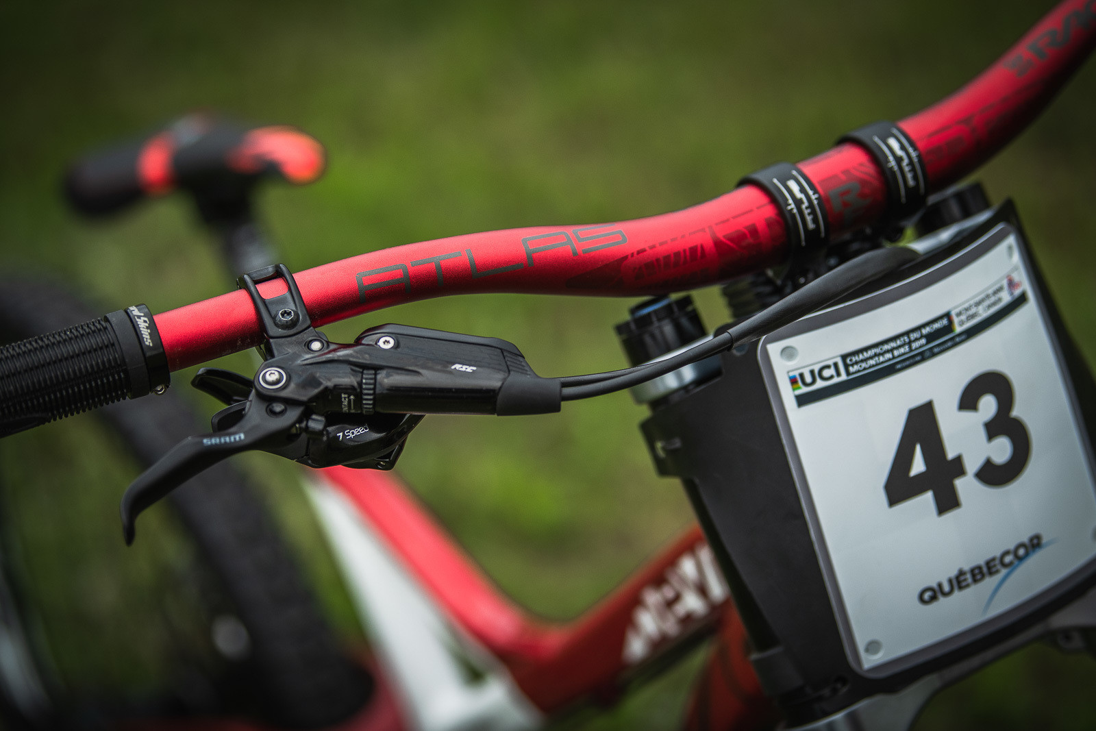 Red Race Face Bars for Kirk - Devinci Unior World Championships Downhill Race Bikes - Mountain Biking Pictures - Vital MTB