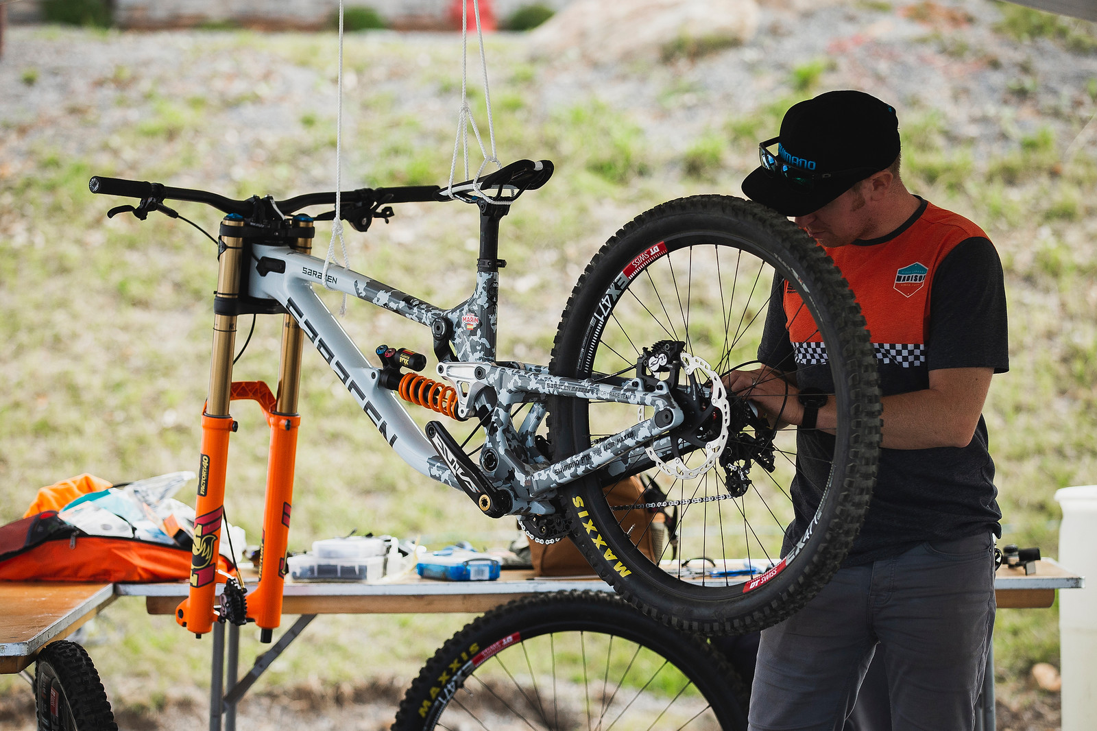 No work stand? No problem. - PIT BITS - 2019 World Cup Downhill, Snowshoe, West Virginia - Mountain Biking Pictures - Vital MTB