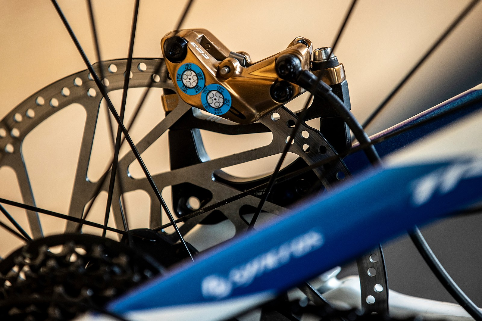 Thermometer Stickers on Her TRP Brakes - WORLD CHAMPS BIKE - Marine Cabirou's Scott Gambler - Mountain Biking Pictures - Vital MTB