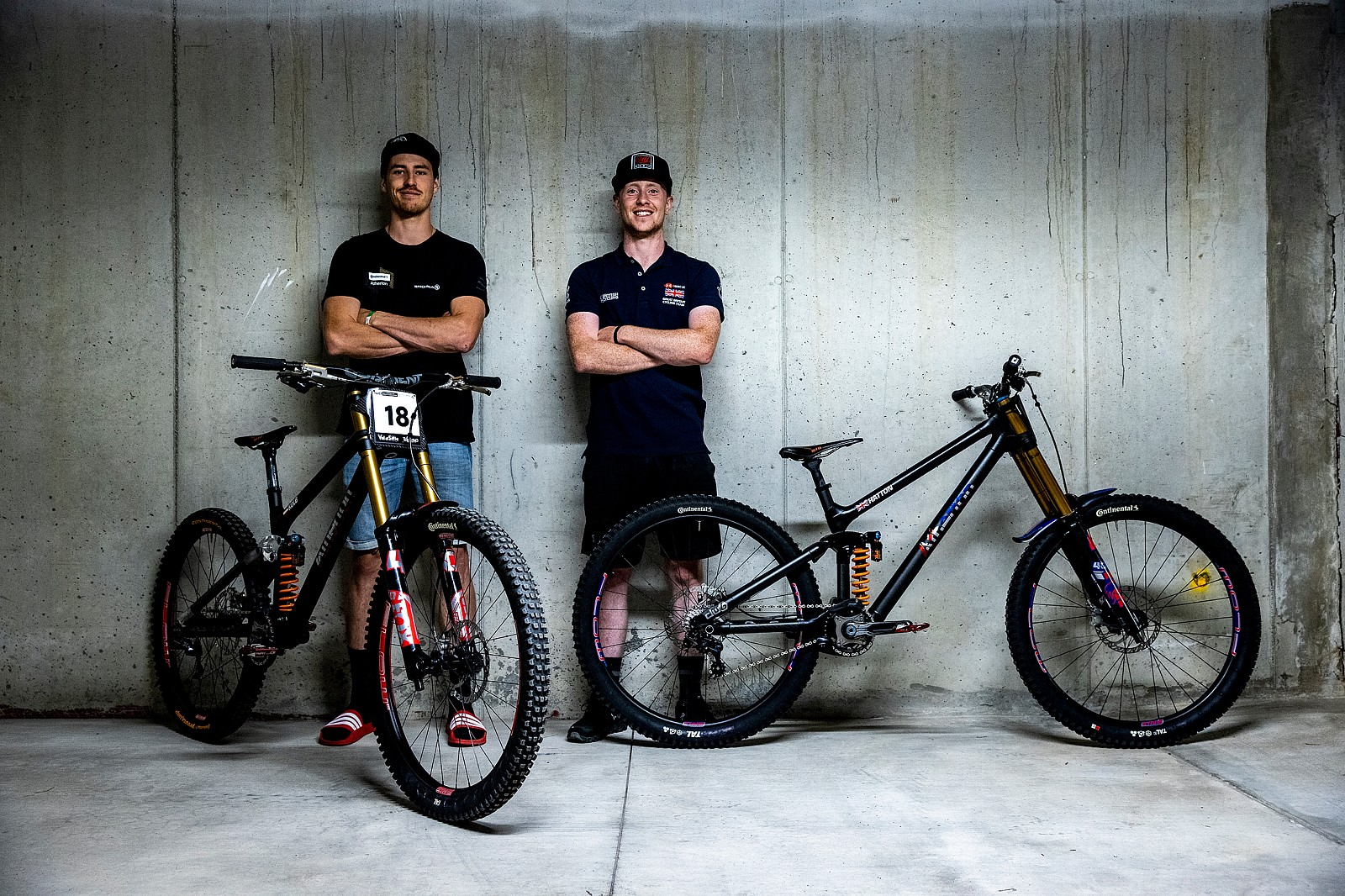 Andreas Kolb and Charlie Hatton with Their Atherton Bikes at the Val di Sole World Champs - WORLD CHAMPS BIKES - Atherton Racing - Mountain Biking Pictures - Vital MTB