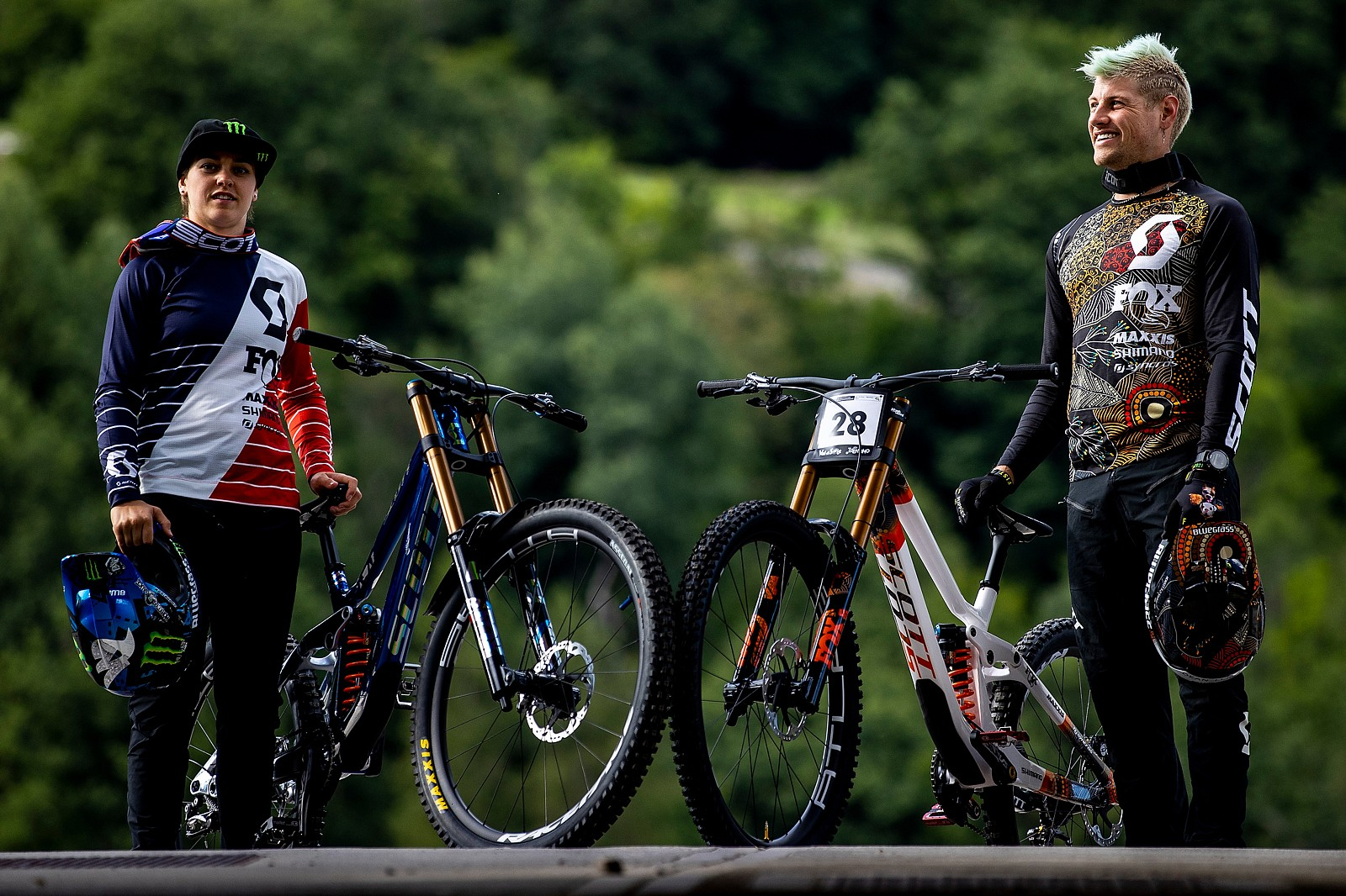 Marine Cabirou and Dean Lucas Show Off Their Scott Gamblers in Val di Sole - WORLD CHAMPS BIKES - Scott Factory Racing Gamblers - Mountain Biking Pictures - Vital MTB