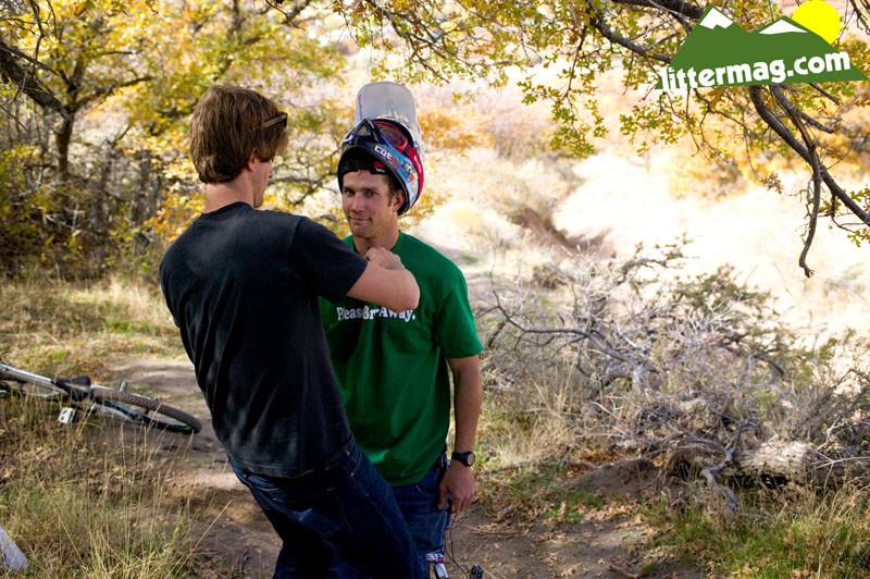 Chris Van Dine getting mic'd up - 10 Days in Utah - Mountain Biking Pictures - Vital MTB