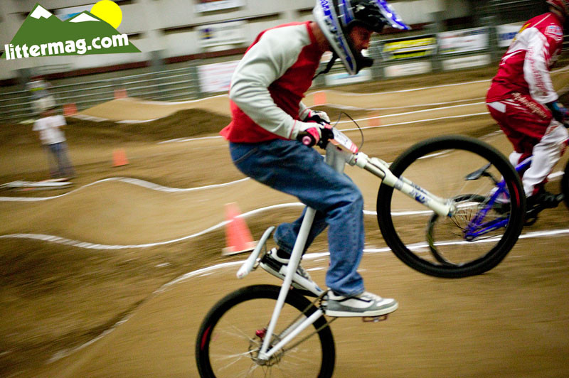 Doc racing at an indoor BMX race at the end of Day 2 - 10 Days in Utah - Mountain Biking Pictures - Vital MTB