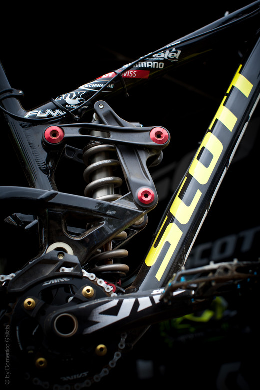 Prototype Scott Gambler DH Bike Suspension Linkage Detail