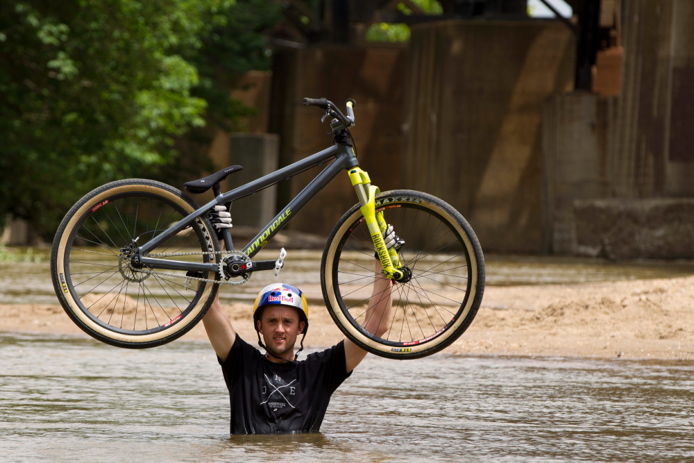 Aaron Chase in a River - Aaron Chase's 2012 Cannondale Dirt Jump Hardtail - Mountain Biking Pictures - Vital MTB
