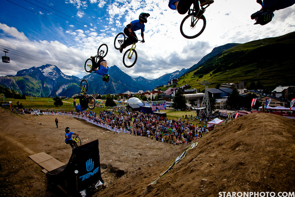 Sam Reynolds Double Backflip Attempt at Teva Best Trick - Teva Best Trick Wind Delay from Crankworx Les 2 Alpes - Mountain Biking Pictures - Vital MTB