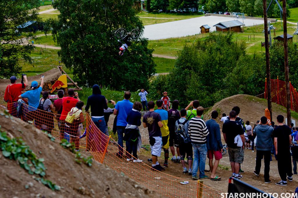 Brandon Semenuk Road Gap Backflip, Crankworx iXS Slopestyle and Teva Best Trick Winner - Brandon Semenuk Wins Slopestyle Finals at Crankworx Europe - Mountain Biking Pictures - Vital MTB
