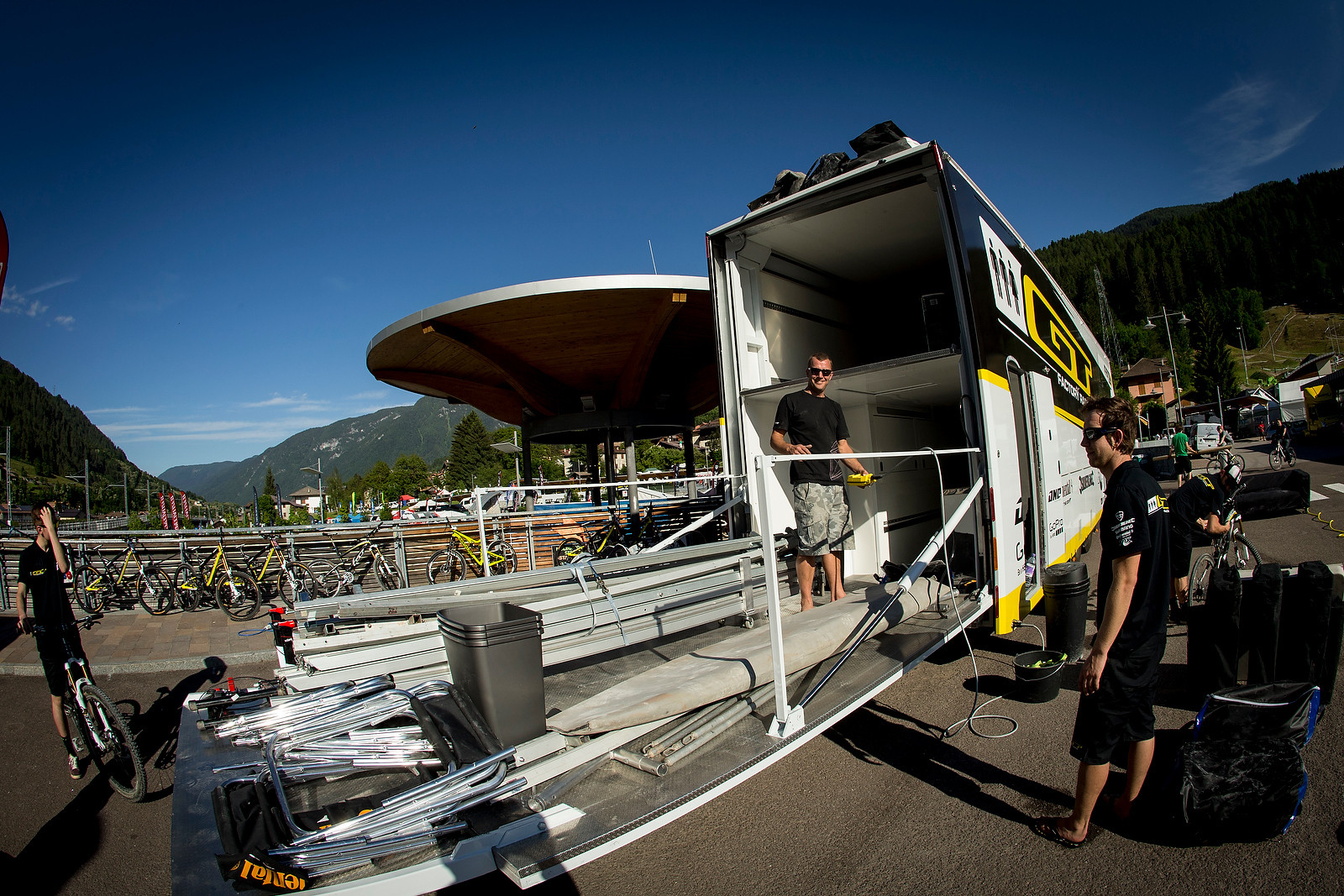 GT Factory Racing Big Rig with Elevator in Trailer (Down) - Pit Bits: 2013 Val di Sole World Cup - Mountain Biking Pictures - Vital MTB