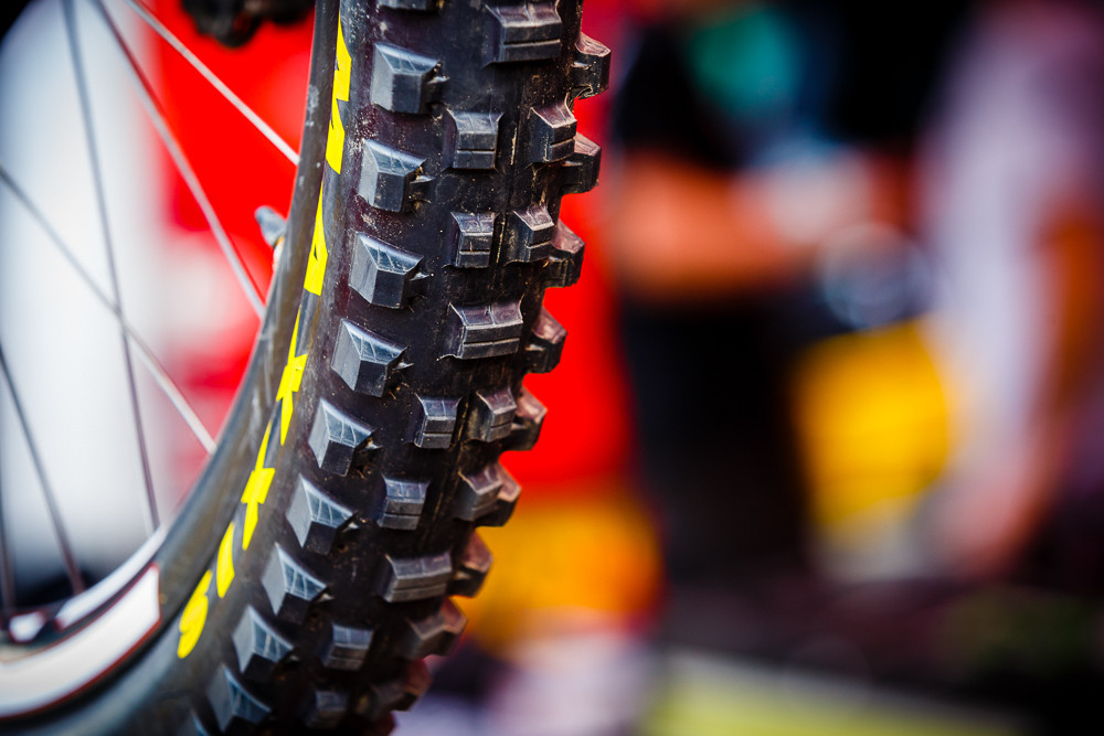 Prototype Maxxis DH Tire in the Syndicate Pits at Andorra - PIT BITS: 2013 Andorra World Cup - Mountain Biking Pictures - Vital MTB