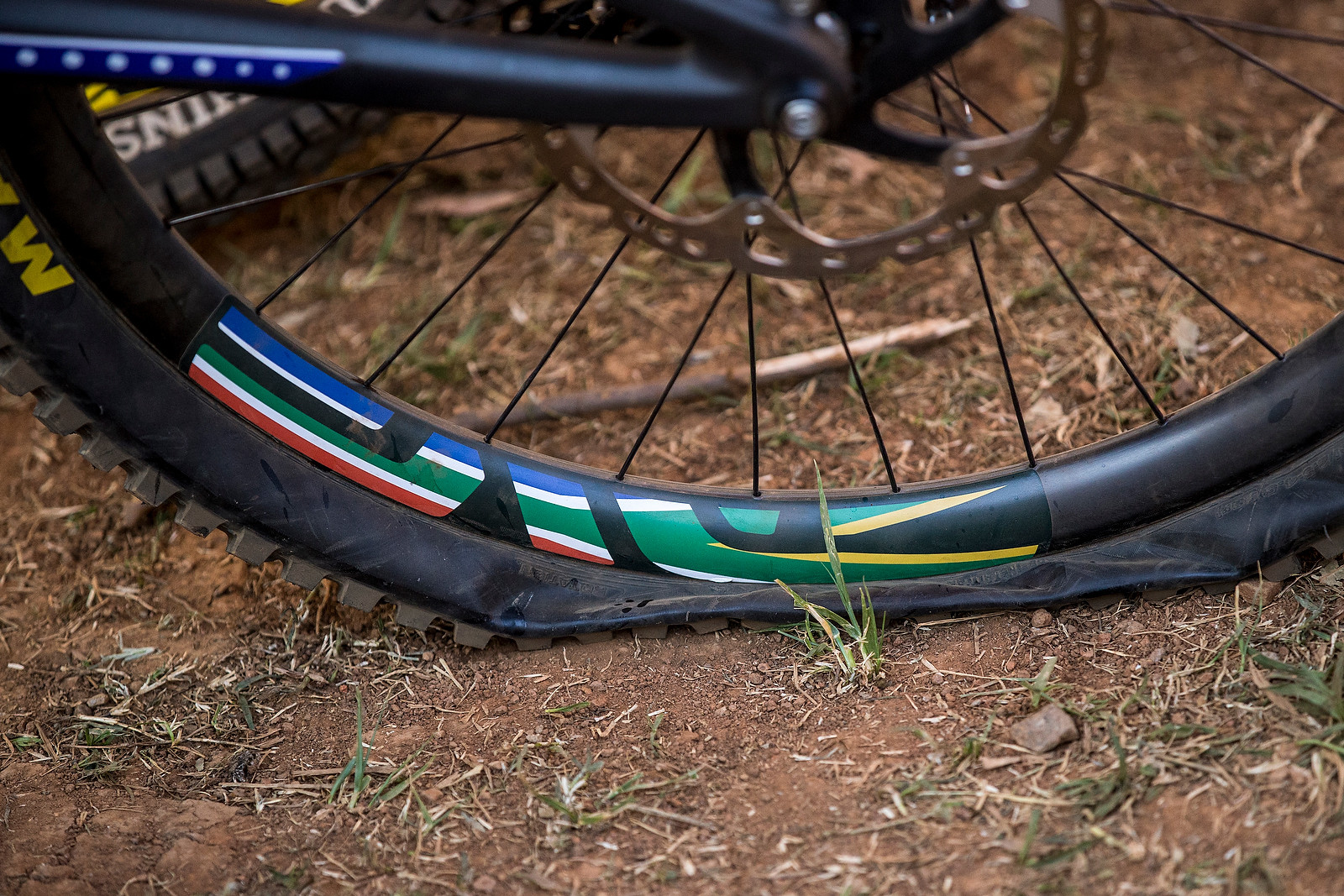Greg Minnaar's Single Ply Maxxis Rear Tire After Crossing the Finish at World Champs - WINNING BIKE: Greg Minnaar's World Champs Santa Cruz V10c - Mountain Biking Pictures - Vital MTB