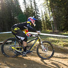 Gee Atherton and his 2014 GT Fury Bottomed Out at Hafjell