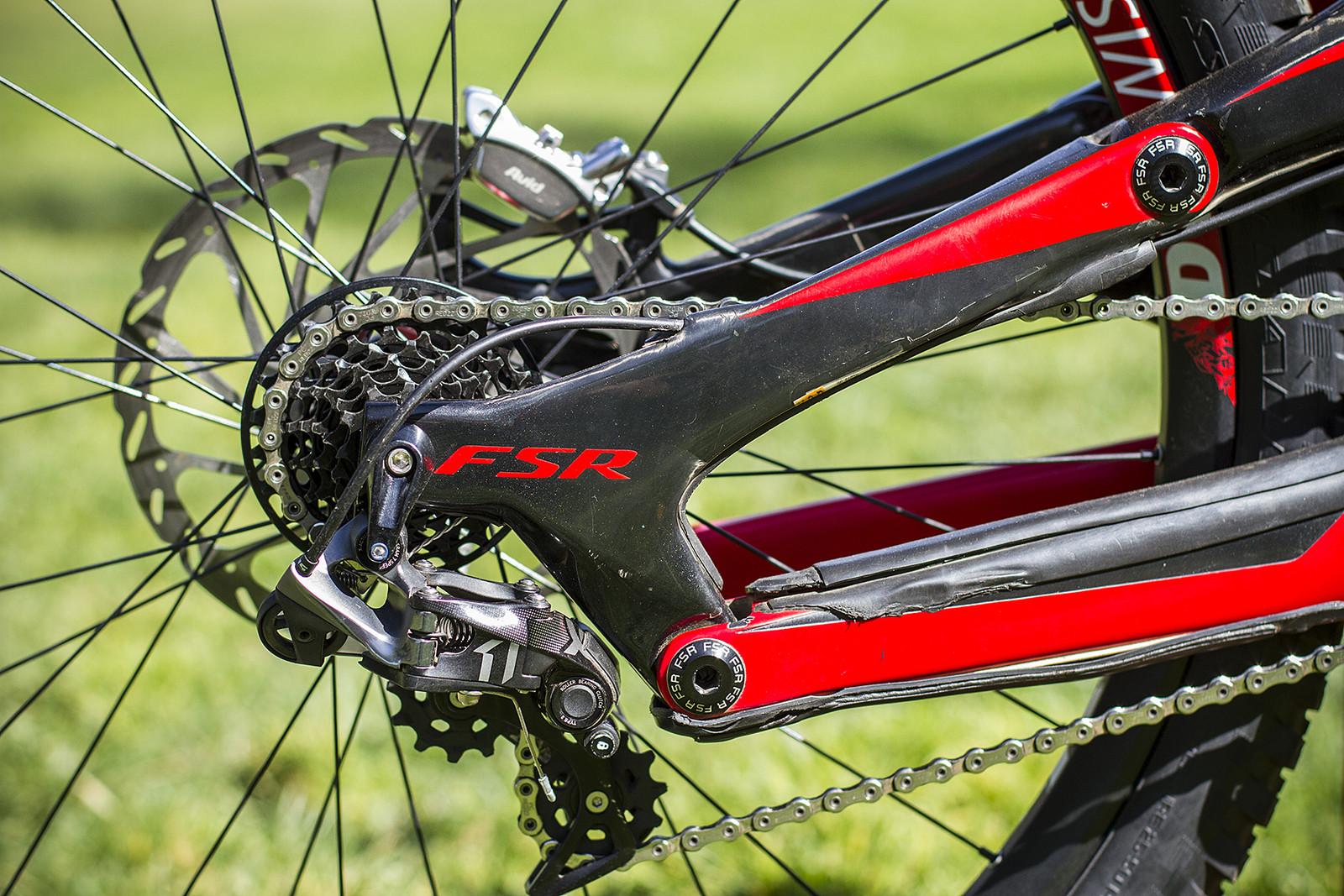 Gwin Runs a 7-Speed SRAM X01 DH Drivetrain - Pro Bike Check: Aaron Gwin's Specialized S-WORKS Demo 8 - Mountain Biking Pictures - Vital MTB