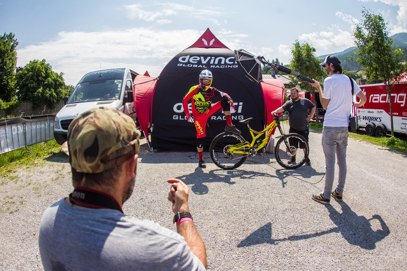 Steve Smith Getting All Captain Morgan for Sven and @madmonkeyboris - PIT BITS - Leogang World Cup Downhill - Mountain Biking Pictures - Vital MTB