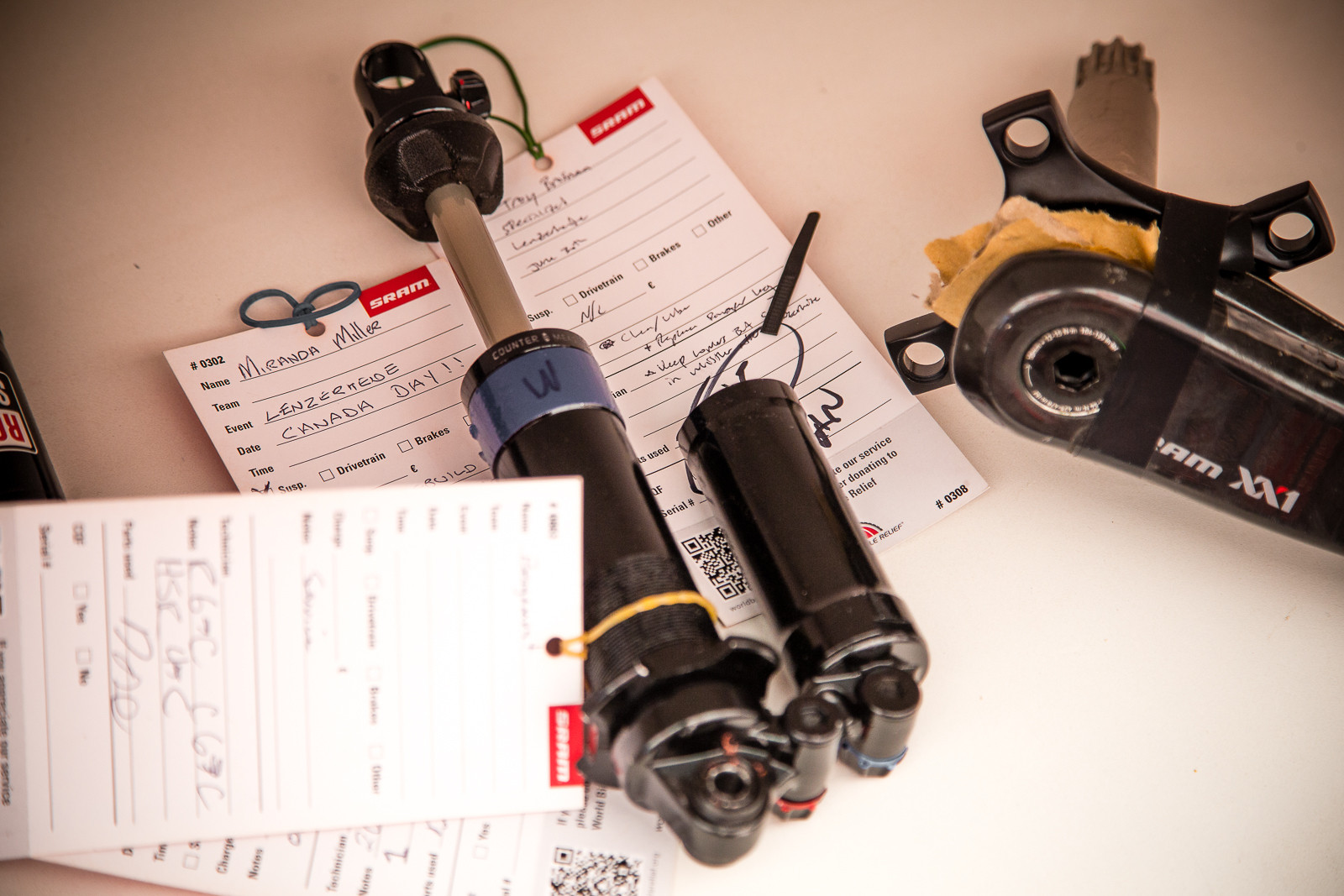 Miranda Miller's RockShox Vivid - PIT BITS - World Cup Lenzerheide, Switzerland - Mountain Biking Pictures - Vital MTB