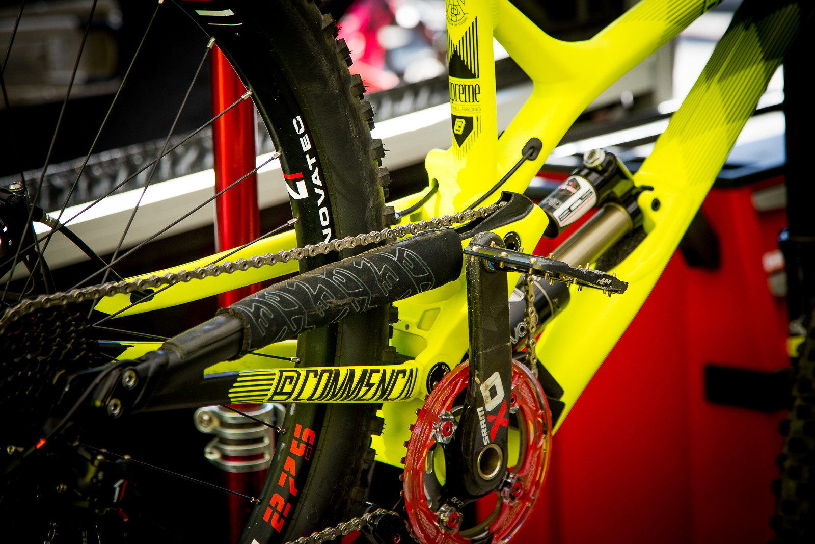 HT Flat Pedals in the Commencal Pits - PIT BITS - World Cup Lenzerheide, Switzerland - Mountain Biking Pictures - Vital MTB