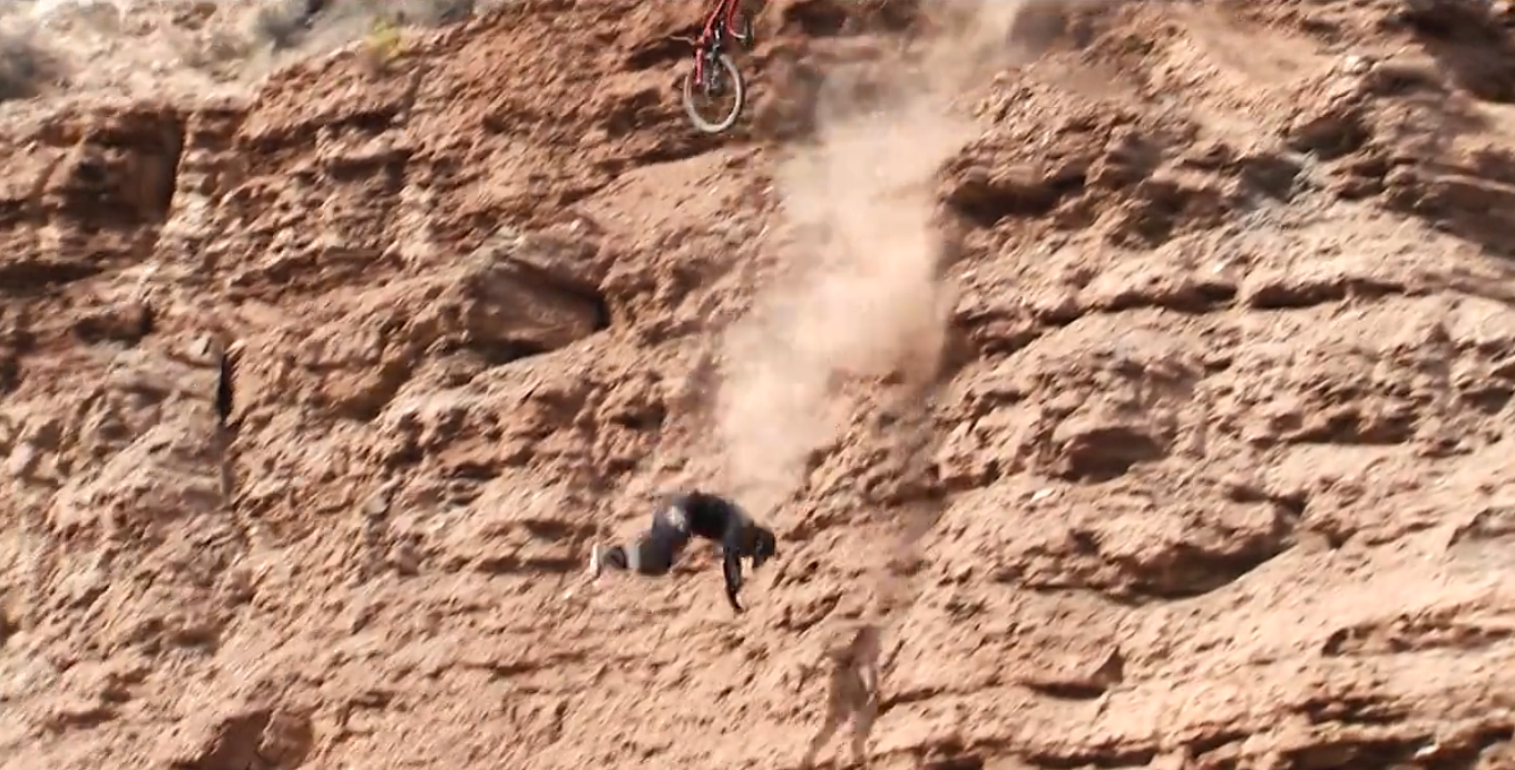 HOLY SH#T Nicholi Rogatkin Falls off a Cliff, Then Finishes his Run at Rampage