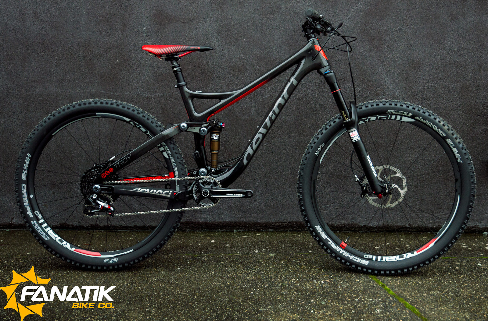 """For more information on this build, check out <a href=""""http://fanatikbike.com/product/devinci-troy-carbon-x01-complete-11907.htm"""">FanatikBike.Com</a> ."""