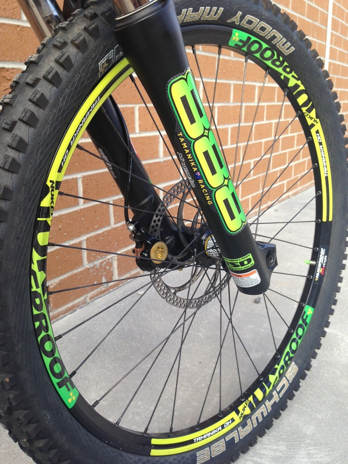 Nukeproof dh generator wheelsets with marzocchi evo rc3s both with custom decals