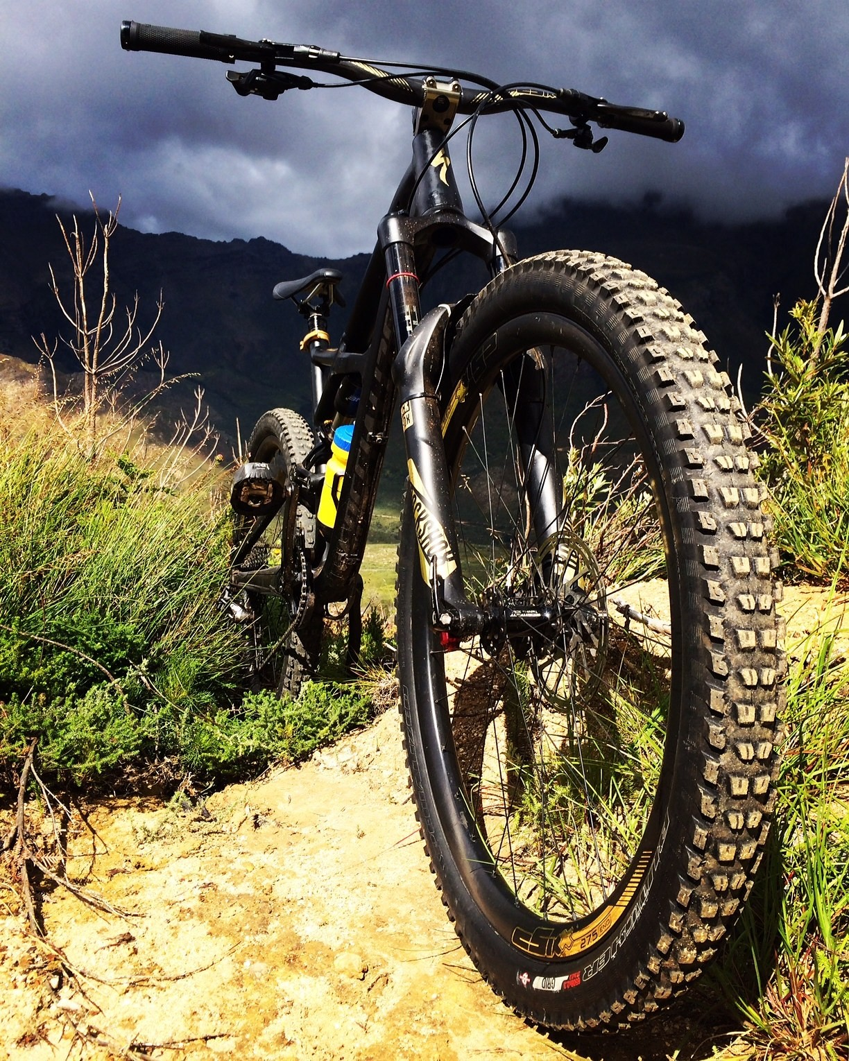 Custom Gold Specialized Enduro, with trail dust from Jonkershoek South Africa
