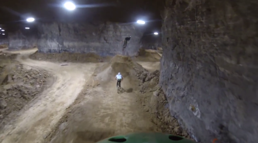 Riding Dirt Jumps in an Underground Bike Park