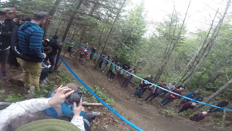 2015 Pro GRT Port Angeles Rider hits tree and takes out Cop on race run