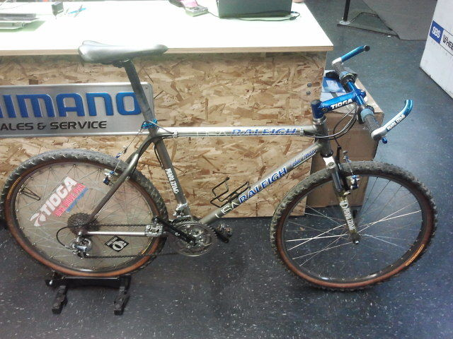 John Tomac's 1994 Raleigh Titanium race bike.