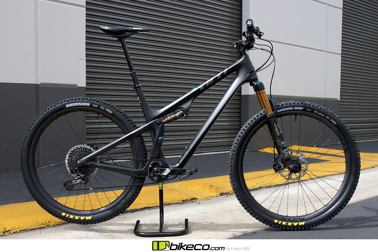 A super fun Yeti SB100 build before it went to it's new home... Chris King hubs laced to Nox Composites hoops take this build to the next level. Check out BikeCo.com for more build photos, custom bike builders, etc! BikeCo brings riders the best spec, setup, tune and pricing in mtb.