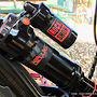 Rockshox Super Deluxe RC3, Silk Graphics custom decals, Happy face valve cover.