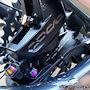 SRAM Code R caliper; SRAM sintered-metallic brake pads; Motul DOT 5.1 brake fluid; Titanium oil slick caliper and bracket bolts.