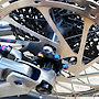 DT Swiss H1900 Hybrid hubs, SRAM 200mm Centerline brake rotor; Titanium oil slick rotor mounting bolts.