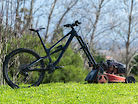 Mowing grass with a mountain bike